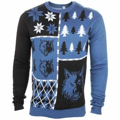 Minnesota Timberwolves Light Blue Busy Block Ugly Sweater