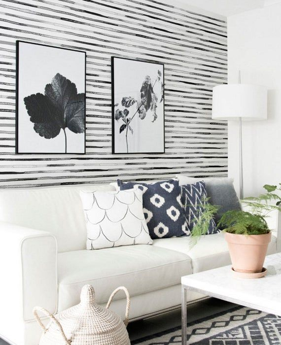 Watercolor Stripes Black And White Peel Stick Fabric Etsy Paintable Wallpaper Striped Wallpaper Wallpaper Panels