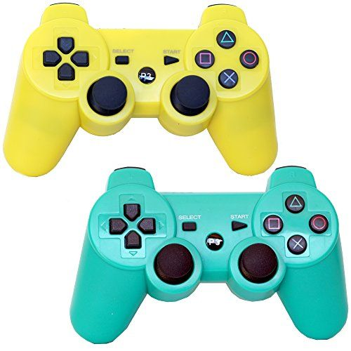 Pack of 2 Bluetooth Dual Vibration Wireless PS3 Remote Controllers For Use With Playstation 3 (Green/Yellow)