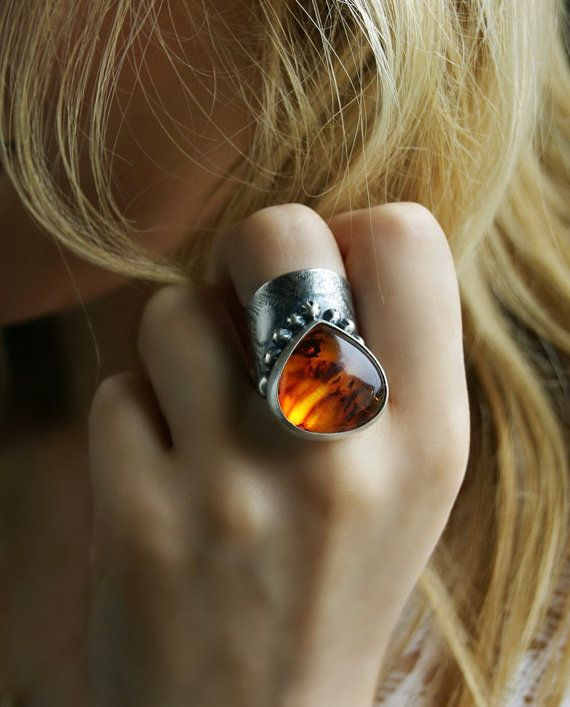 Fire in the Heart - Baltic Amber Sterling Silver Ring