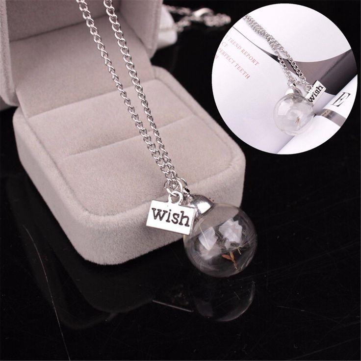 Glass Bottle Dandelion Wish Pendant Necklace