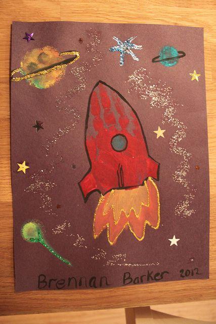 Rocket spaceship handprint art