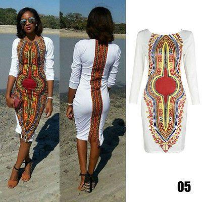 Traditional-Womens-African-Dashiki-Dress-Party-Hippie-Blouse-Mini-Shirt-XL-L-M-S