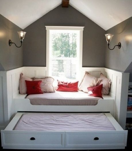 Modular bed furniture with an embedded bed..great for an attic room or loft style area...but bookcases instead of trundle.
