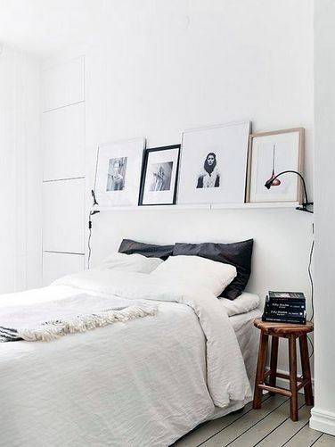 I like the shelf with pictures propped on as an Above Bed feature. 17 Best ideas about Nordic Bedroom on Pinterest   Rustic grey