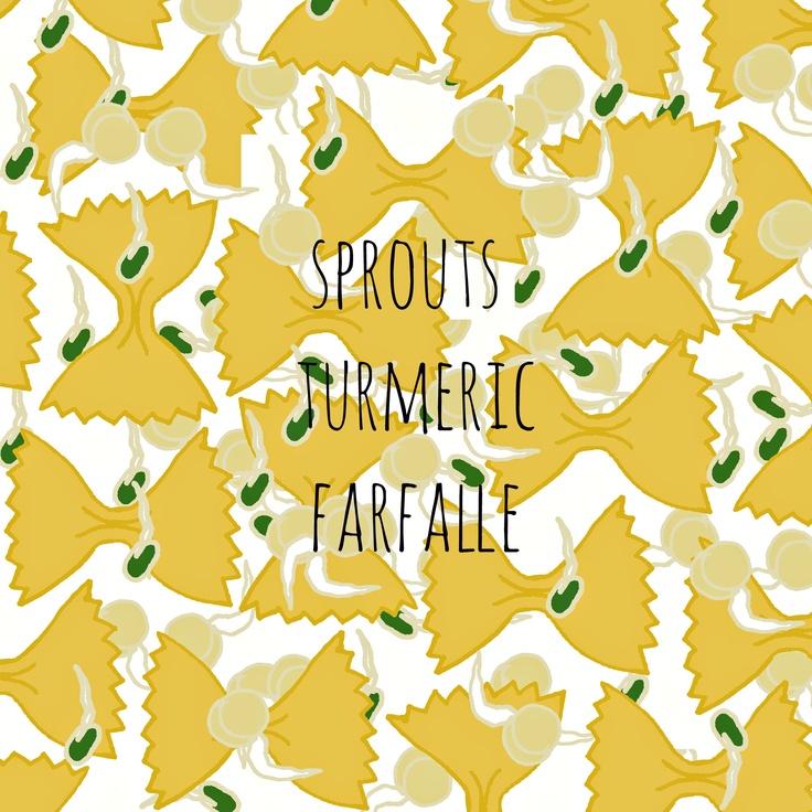 #pattern #illustration #sporuts #pasta #farfalle #yellow #green #turmeric sprouts turmeric farfalle / by Taki Trik