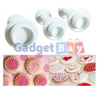 Ideal 3Pcs Round Circle Fondant Cake Plunger Cutter Decorating Mold Mould
