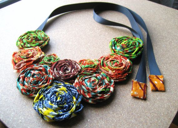 Wax print collage bib necklace by seiwa akoto loving for How to make african jewelry crafts