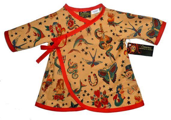 Les tailles de bébé Punk Rock - Rockabilly bébé - Baby Tattoo - filles - Todddler robe - robe Kimono - manches longues - robe de bébé - Nb à 5 t