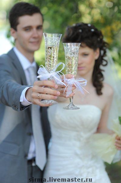 Купить Бокалы Серебрянка с монограммой - свадебные бокалы, свадьба, невеста, подарок на свадьбу, богеское стекло