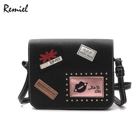 a0f48acc2dd5 2018 Fashion New Female bag Handbags Quality PU leather Women bag British  Retro Badge Square bag Rivet Shoulder Messenger Bag