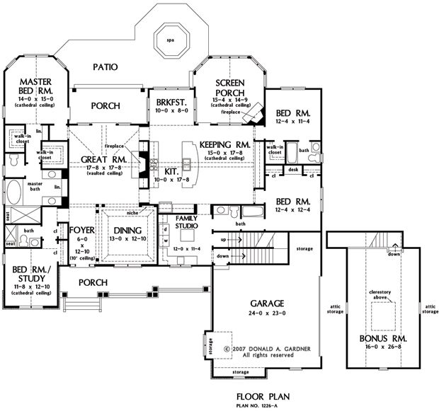 House plans with great room in back for Keeping room house plans