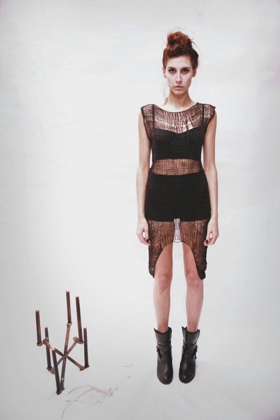 Oracle : winter '13 harbinger sheer linen dress by Morph Knitwear on Etsy