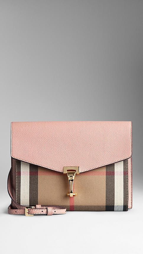 Nude blush Small Leather and House Check Crossbody Bag from Burberry - Crossbody bag in grainy leather with a House check cotton front panel. Foldover leather front, distinctive clasp closure, detachable and adjustable crossbody strap. Discover the women's bags collection at Burberry.com