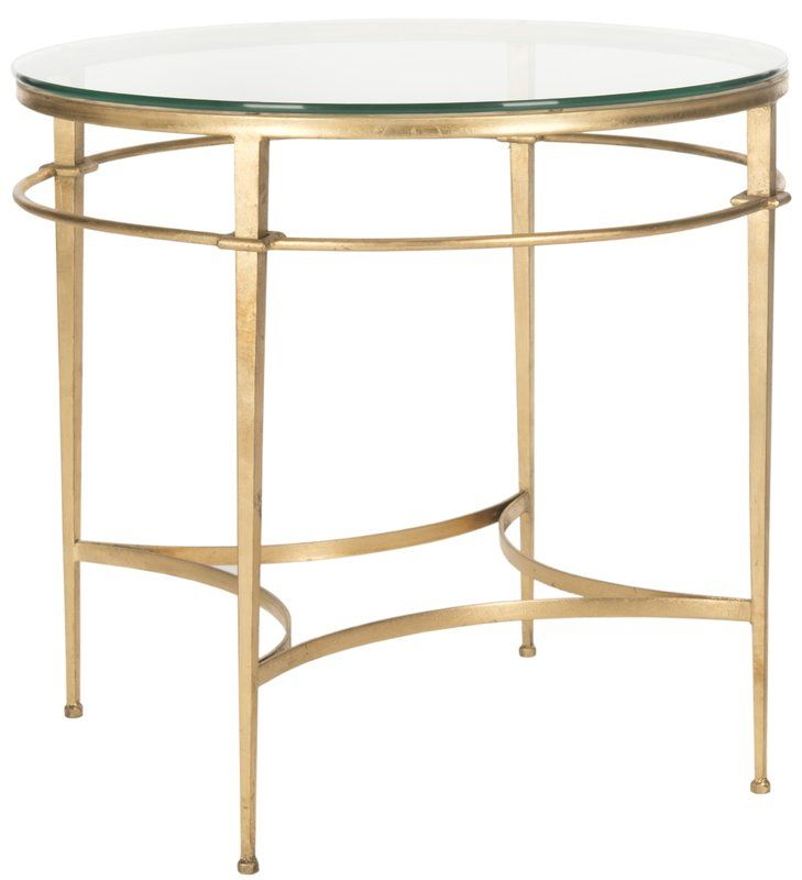 Carlin Glass Top End Table Living Room Side Table Furniture Side Table
