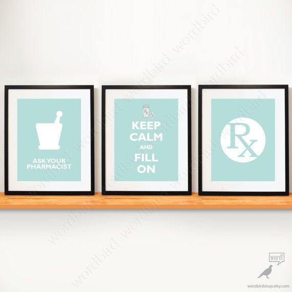 Set of 3 / Pharmacy Student gift pharmacy poster by WordBirdShop, $26.25