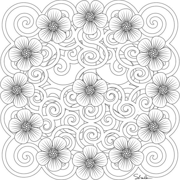 Flowers Coloring Page By Leigh Mandala PrintablePrintable