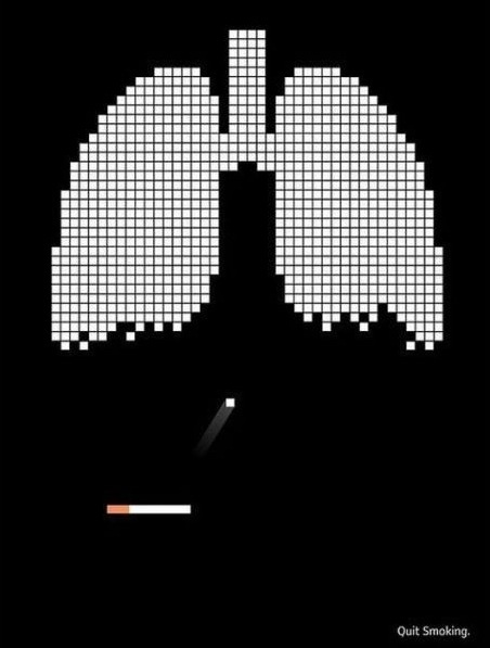 cigarette and lungs made into space invades to show your slowly killing yourself. Target audience: Smokers.
