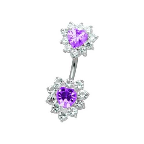 bellybutton ring double heart purple I love this one my fav so far