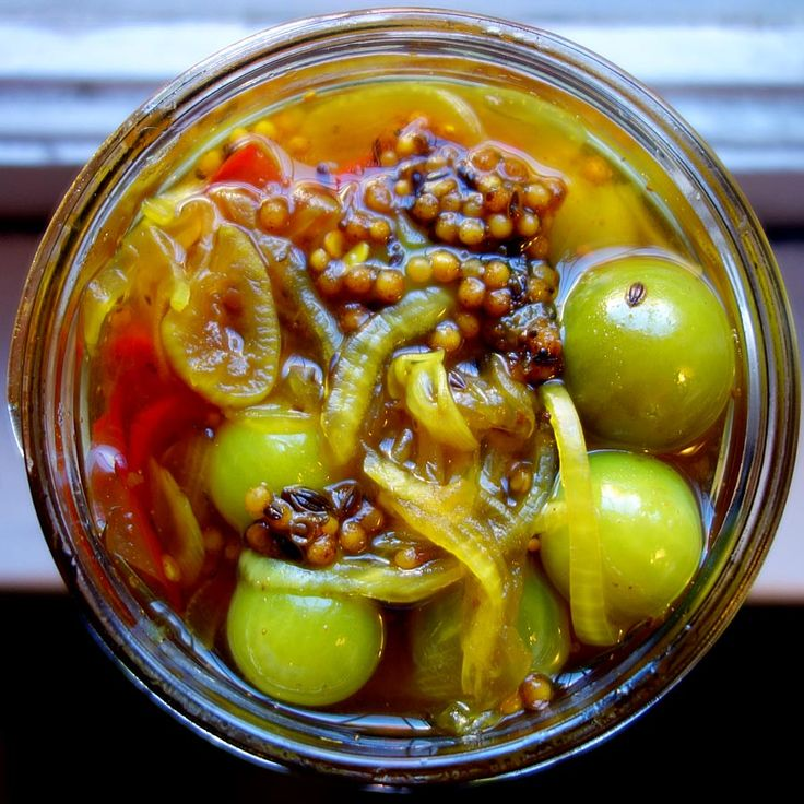 Bread and butter pickles made from green cherry tomatoes.