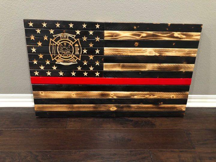 Redline American Flag Firefighter Flag Rustic Wooden Etsy