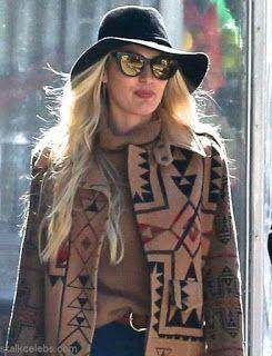 海外セレブスナップ | Celebrity Style: 【キャンディス・スワンポール】柄コートのレトロ感のあるデニムスタイルでお出かけ!