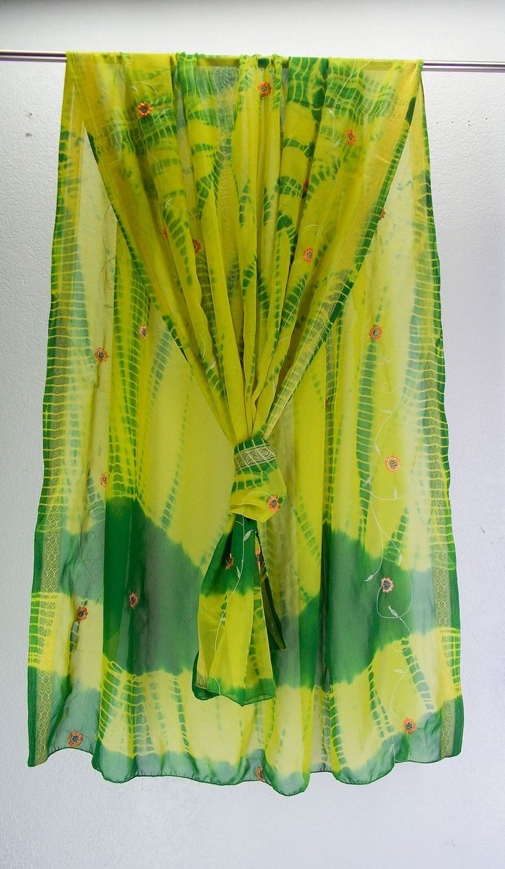 Yellow and green zari-woven georgette embroidered dupatta
