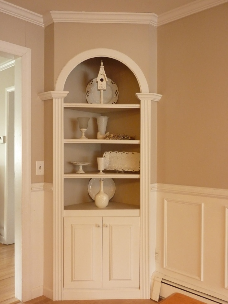 A great corner built in unit the color is way too boring for Built in dining room cabinet designs