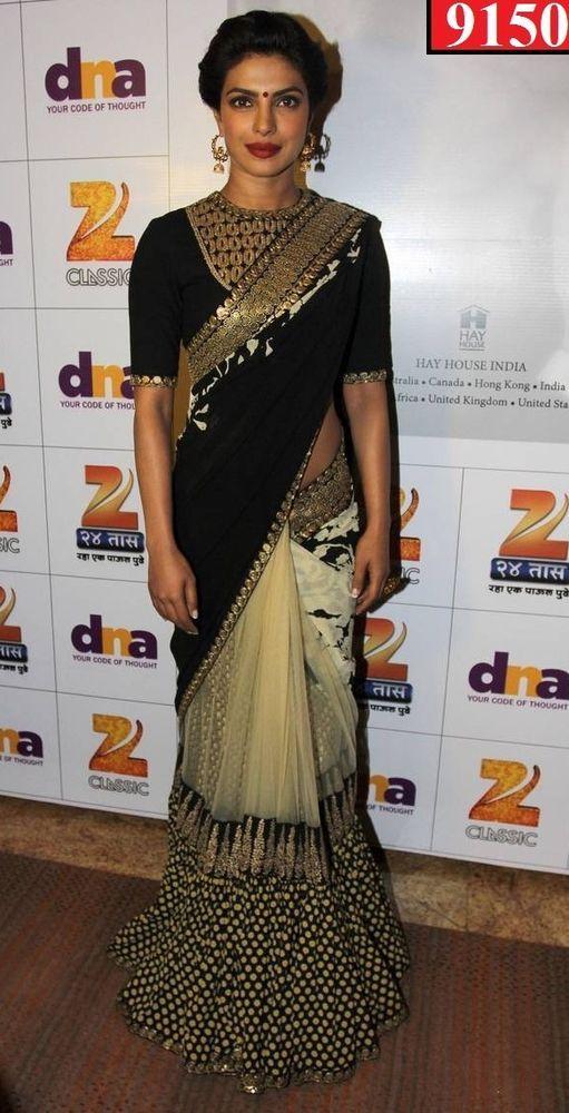 SareeStudio Priyanka Chopra Embroidery Designer Wedding Georgette Net Sari #SareeStudio #BollywoodDesignerSareeSari #WeddingWear