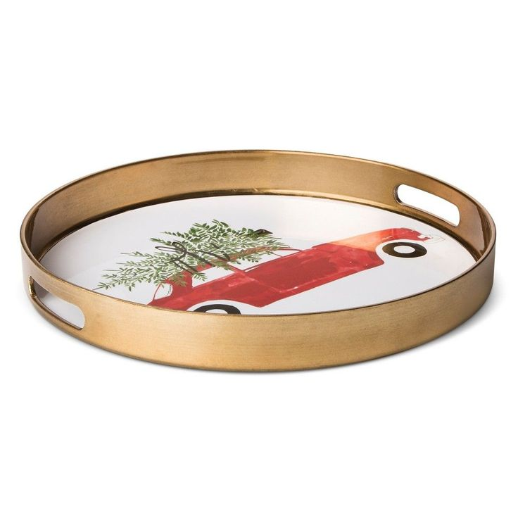 car with tree round 136in plastic serving tray metallic gold threshold