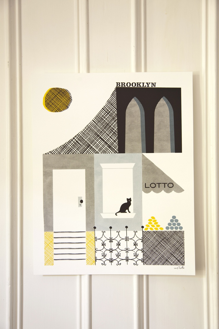 I love Wayne Pate's designs - simple lines and shapes.: Kitchens Design, Pate Brooklyn, Illustrations, Interiors Design Kitchens, Art, Cats Poster, Shapes Design, Wayne Patebrooklyn, Posterkitchen Design