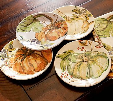 Watercolor Pumpkin Plates, Set of 4...not that I really have room to store them. :)