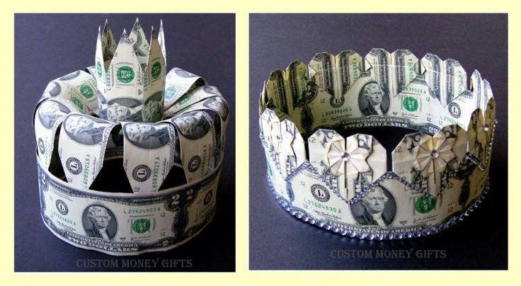 MONEY CROWNS are exclusive gifts for the BRIDE and GROOM on their wedding or engadement day. Available upon request with any denomination of dollars