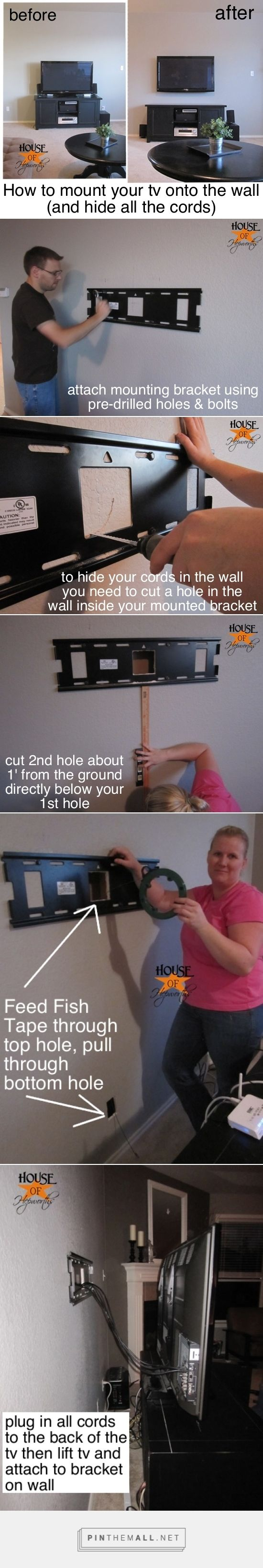 Mounting your tv to the wall and hiding all the cords.                                                                                                                                                     More