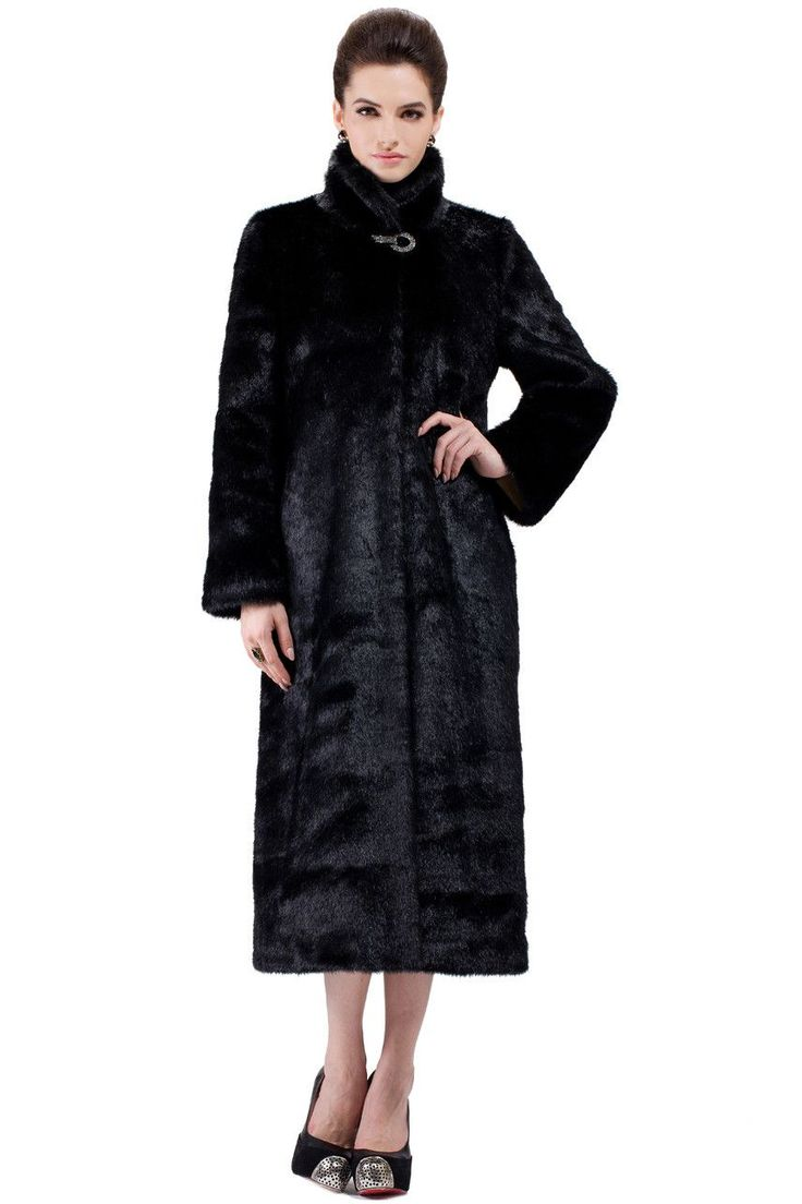 CLASSIC FULL LENGTH BLACK MINK FAUX FUR COAT .