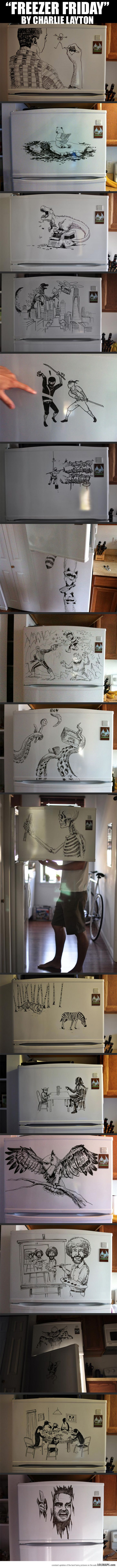 Epic Drawings On The Freezer Door by Charlie Layton