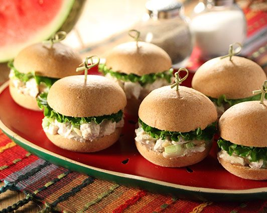 Chicken Salad Sliders...Did you know that Rhodes Warm-N-Serv Rolls make the perfect little buns for sliders? Try these Chicken Salad Sliders for your next get-togethe
