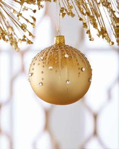 H8GNQ Golden Embellished Ball Christmas Ornament