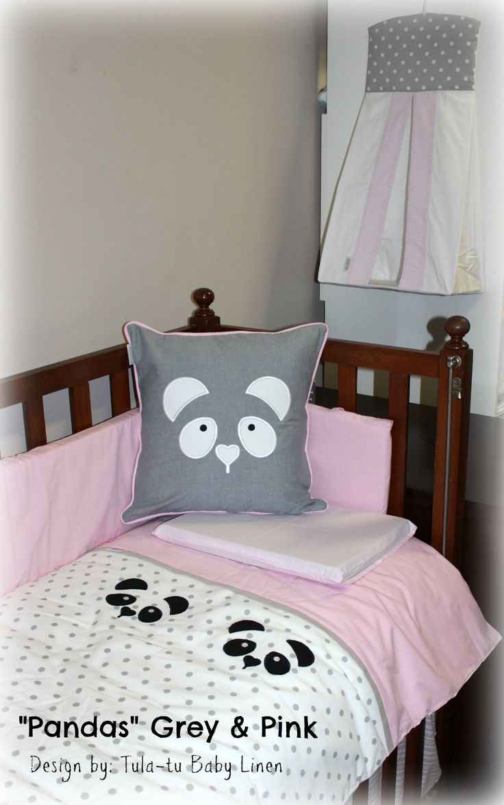Panda themed nursery linen in pink, grey, white & black. Made to order by Tula-tu Baby Linen. View more designs on our website: www.tulatu.co.za