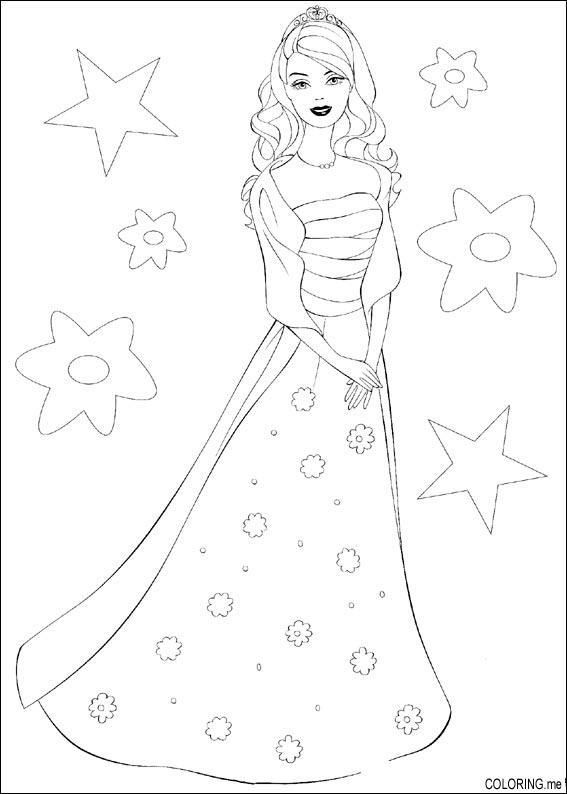 Coloring Page Barbie Dress Coloringme Barbie Coloring Pages