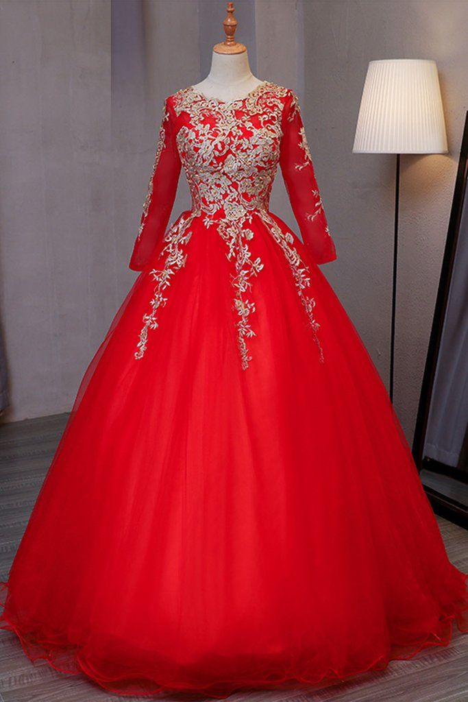 208c68f1ea67 2018 Evening Gowns   Stylish red tulle long prom dress with gold lace  appliques, Beautiful formal dress with sleeves #weddingdresses #promdresses  #prom ...