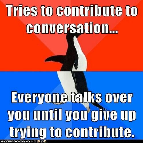 Or they just look away and hope for someone more interesting to start talking. Trust me, I'm hoping for that too, lol! #intovertprobs