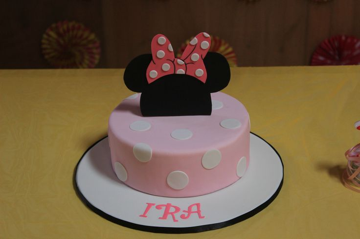 The birthday cake was inspired by the cute, lovable and adorable Minnie Mouse.