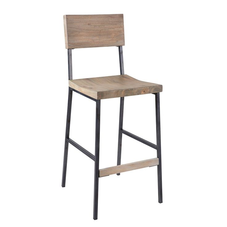The Tacoma bar stool shows that a simple design never goes of out of style. The chair combines deep textured planks of mindi wood with the support of steel frames for a simple industrial look; an easy addition to any dining room. Assembly required.