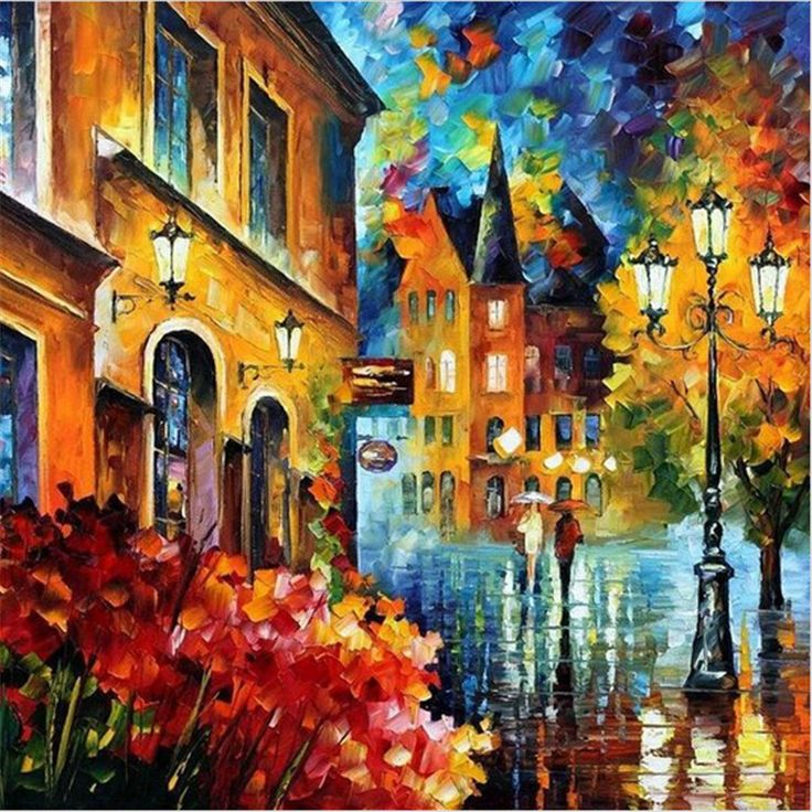 Street Light DIY Oil Painting By Numbers Digital Oil Painting Kits Canvas Wall Decor Gift 40x50cm
