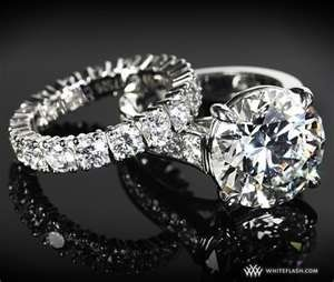 Cartier - diamond and platinum engagement ring & wedding band <3