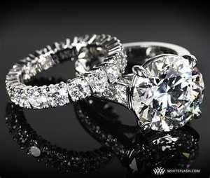 Cartier - diamond and platinum engagement ring & wedding band <3
