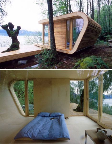 More of a relaxation spot than an actual livable house, the 'Hyette Hardanger' by architect Tommie Wilhelmsen is notable for its streamlined shape and its construction, which was achieved with layered wood. This style could easily carry over into tiny houses that are slightly expanded in size to include a kitchen and bathroom.
