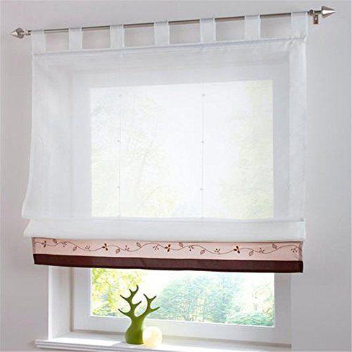Vorhang Raffgardine Fenster Raffrollo Schlaufen Sticken Gardinen Kaffeebraun,100x155cm