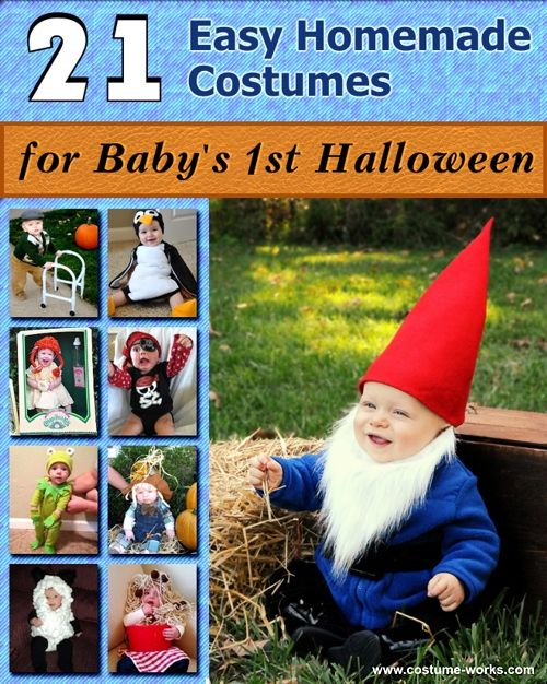 21 Easy DIY Halloween Costumes for Baby's First Halloween- thought have the whole family dress up as nomes